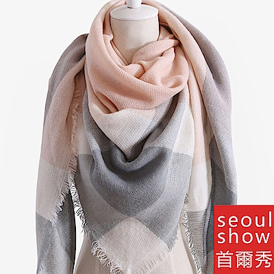 Seoul Show首爾秀 三角形經典格紋仿羊絨男女圍巾披肩