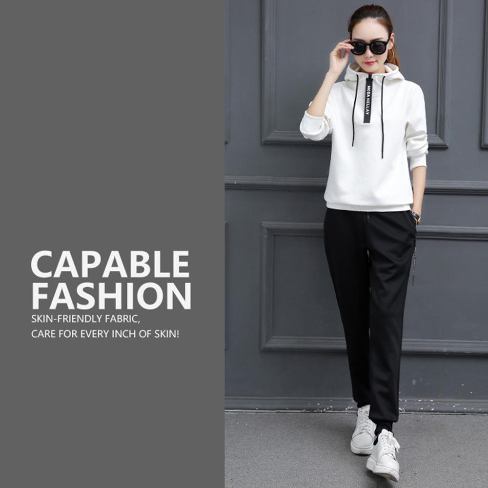 【KISSDIAMOND】韓版3D立體顯瘦連帽運動套裝白色