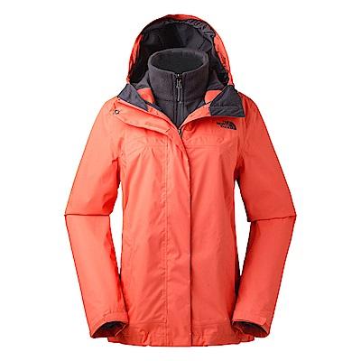 The North Face北面女款橘灰撞色保暖抓絨外套|3CGUDM2