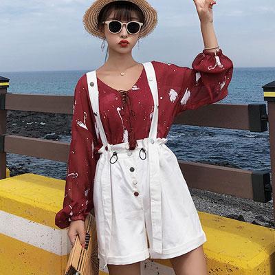 印花長袖雪紡衫+高腰花苞吊帶褲兩件套 (紅色)-Kugi Girl