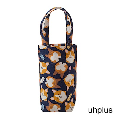 uhplus 隨行環保飲料袋(長版)- 萌柯基(藍)