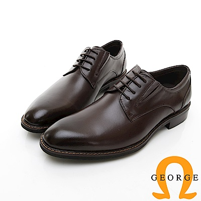 【GEORGE 喬治皮鞋】商務系列 楦頭立體紳士皮鞋-黑色