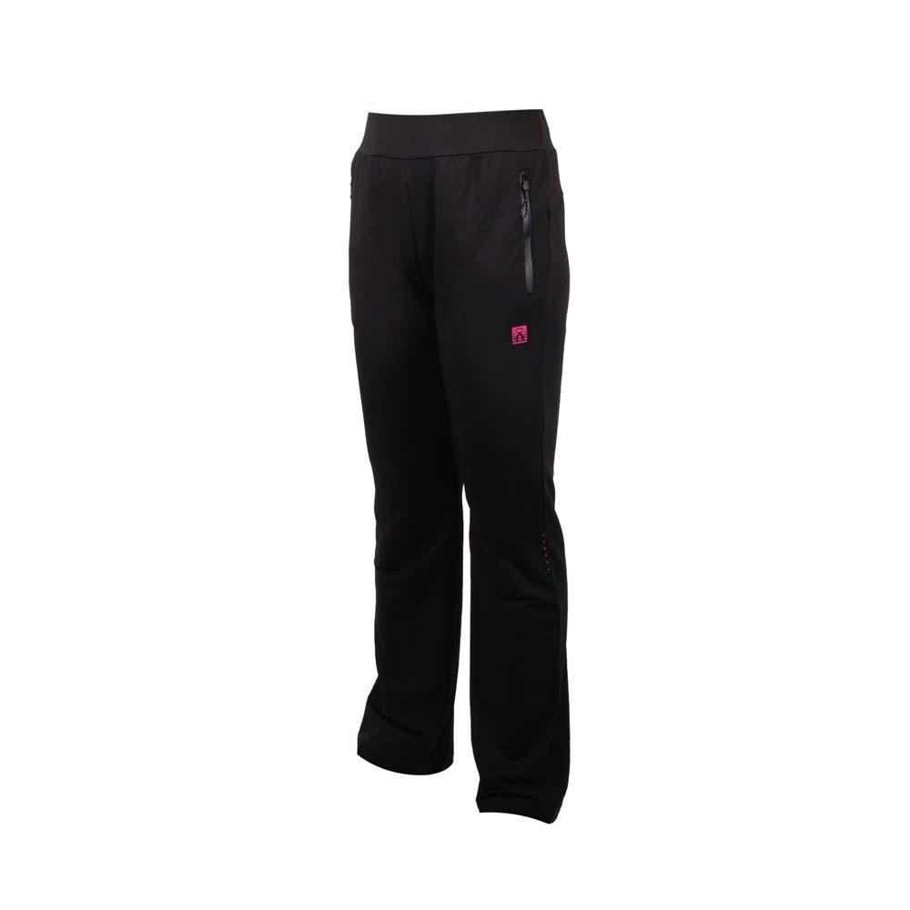 FIRESTAR 女彈性針織平口長褲-吸濕排汗 慢跑 路跑 運動 PL092-10 黑桃紅