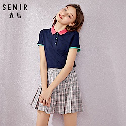 SEMIR森馬-花型小領撞色合身polo衫上衣-女
