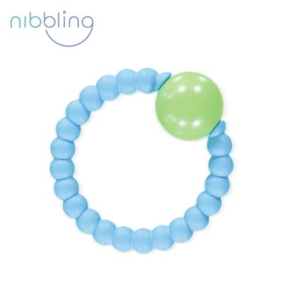 Nibbling矽膠可咬圓圓造型搖鈴手握環-藍