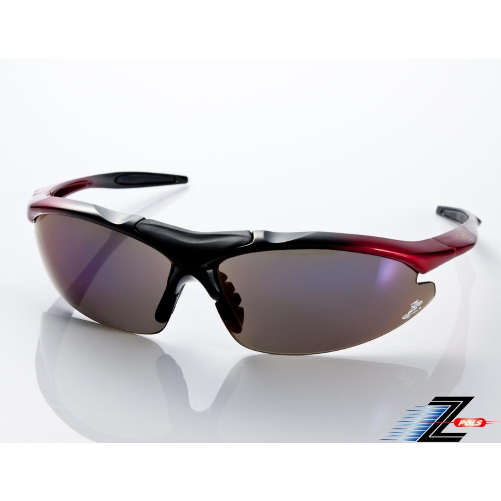 【Z-POLS】頂級TR90彈性輕量黑紅漸層 搭載PC防爆電鍍運動太陽眼鏡