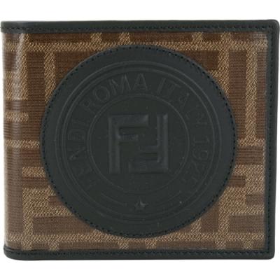 FENDI Stamp FF經典老花 釉面帆布對折短夾(黑色)