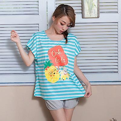 睡衣 彈性棉質短袖兩件式睡衣(C01-100551條紋鳳梨香蕉) Young Curves