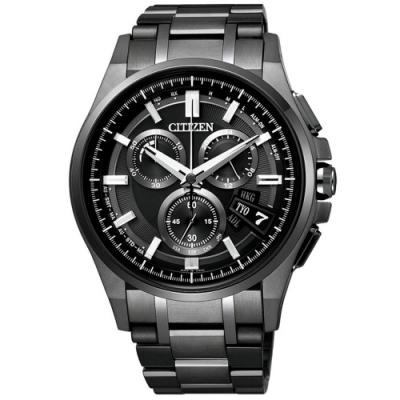 CITIZEN Eco-Drive衝擊效應鈦金屬電波時計腕錶-黑面x鐵灰