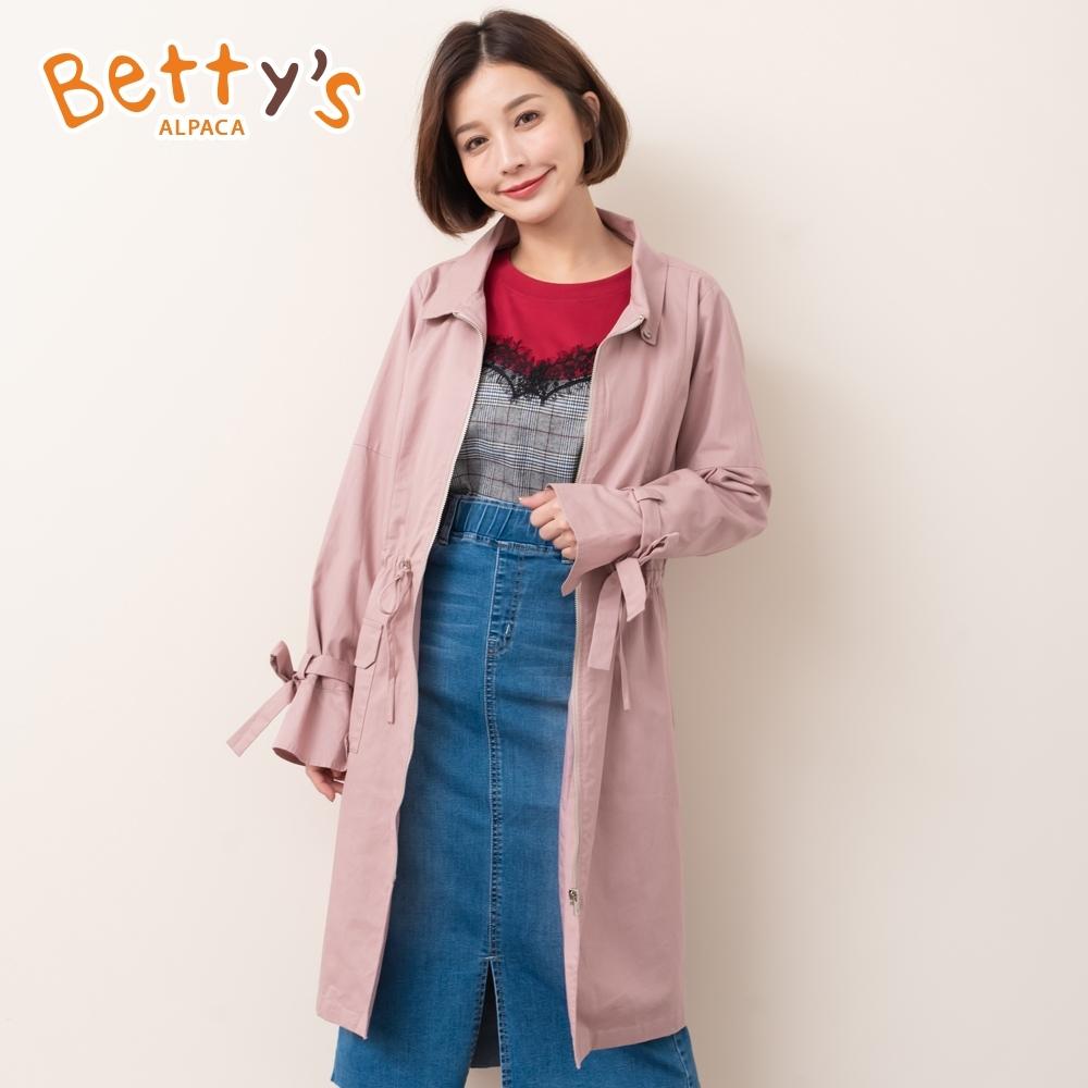 betty's貝蒂思 簡約質感束帶風衣外套(藕粉色)