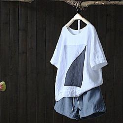 寬鬆印花亞麻短袖T恤罩衫棉麻上衣-設計所在