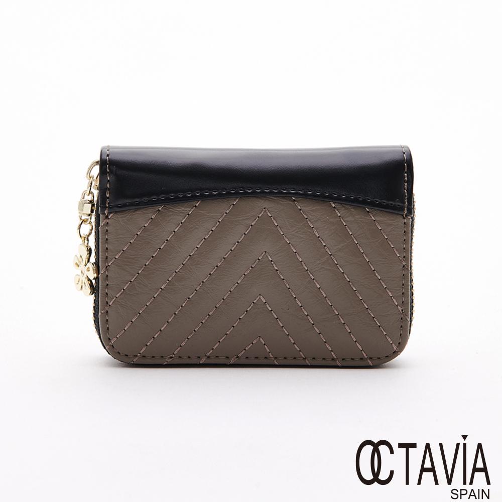 OCTAVIA8 真皮 -  風琴手 V紋車線 牛皮隨身卡片短夾