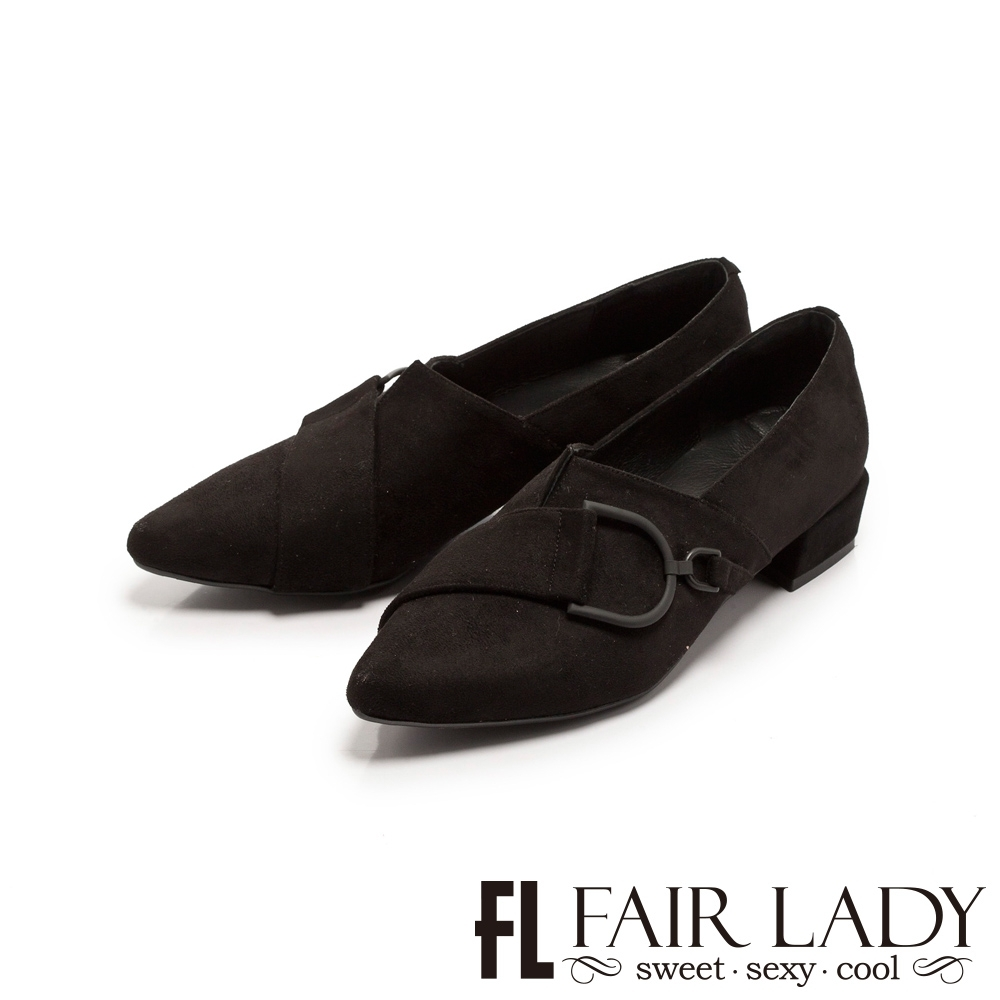 Fair Lady 造型釦帶尖頭樂福低跟鞋 黑