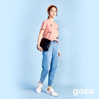 gozo 回收印花雙色牛仔褲(藍色)