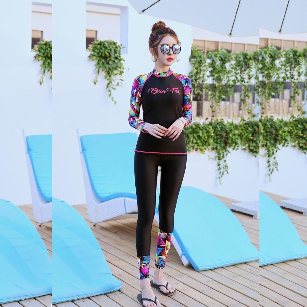 Biki比基尼妮泳衣,紅彩長袖泳衣長褲泳裝浮潛(M-2XL)