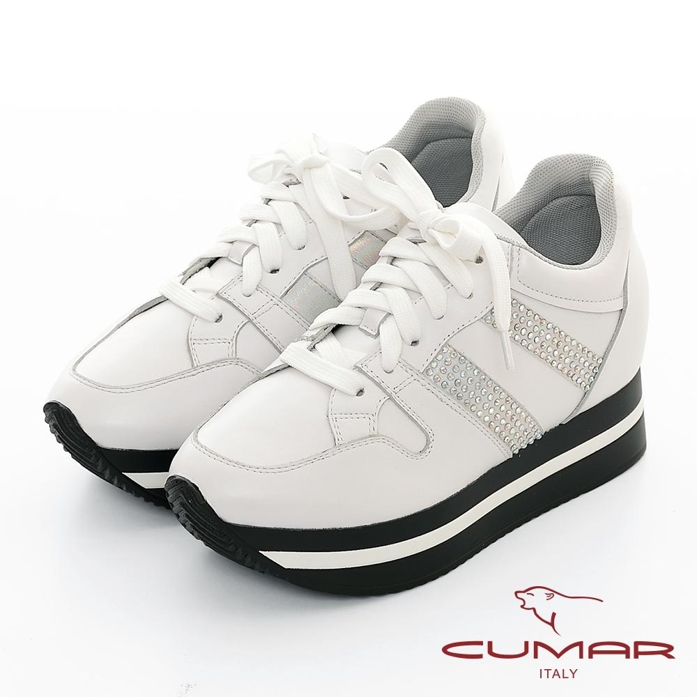 【CUMAR】休閒主義-簡約休閒側邊燙鑽綁帶多層次厚底休閒鞋-白