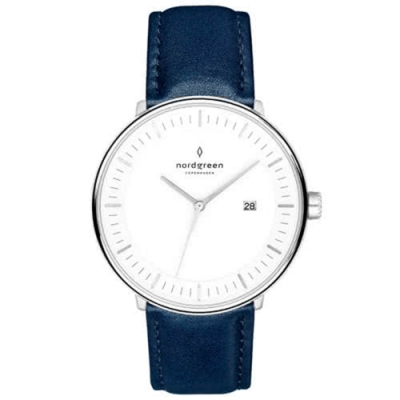 Nordgreen Philosopher 北歐藍真皮錶帶腕錶-36mm(PH36SILENAXX)