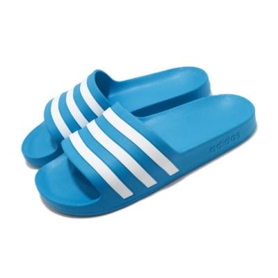 adidas 拖鞋 Adilette Aqua 運動休閒 男鞋 愛迪達 三線 基本款 日常 藍 白 FY8047