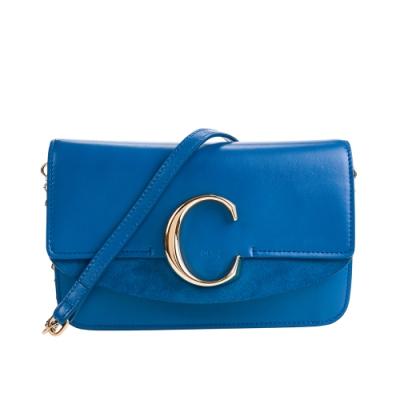 CHLOE 新款CHLOE C Bag 金釦小牛皮手拿/鍊帶包 (藍色)