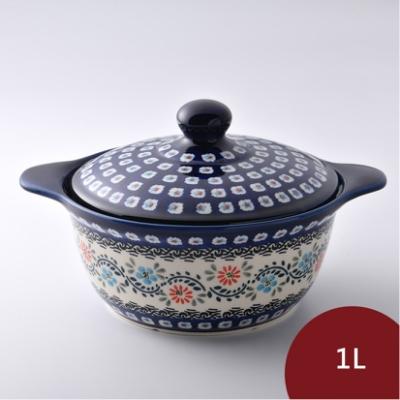 波蘭陶 典雅花團系列 陶鍋 1L 波蘭手工製