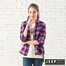 JEEP 女裝 經典格紋寬版長袖襯衫-桃紅藍格