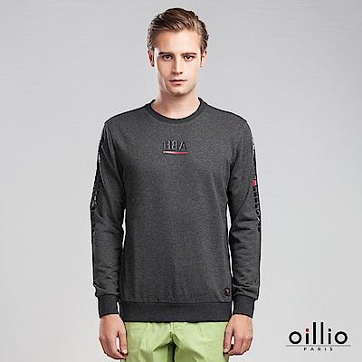 歐洲貴族 oillio 長袖T恤 文字貼標 修身版型 灰色