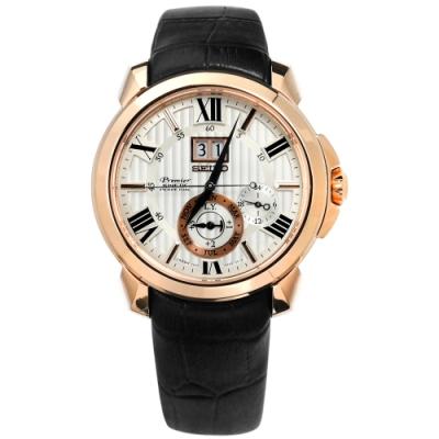 SEIKO 精工 Premier 人動電能 萬年曆 牛皮手錶-米白x玫瑰金x黑色/42mm