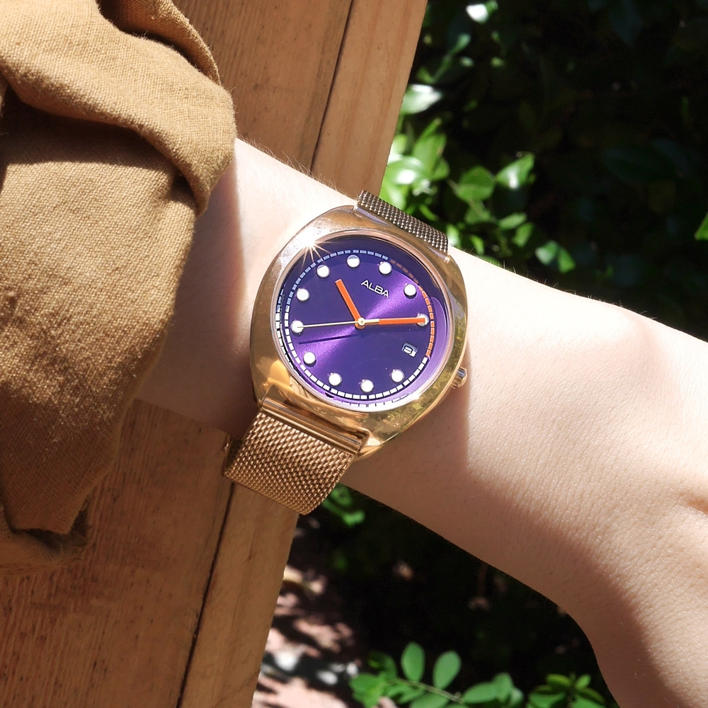 ALBA 跳色潮流 霓虹元素 日期 米蘭編織不鏽鋼手錶-紫x鍍玫瑰金/36mm