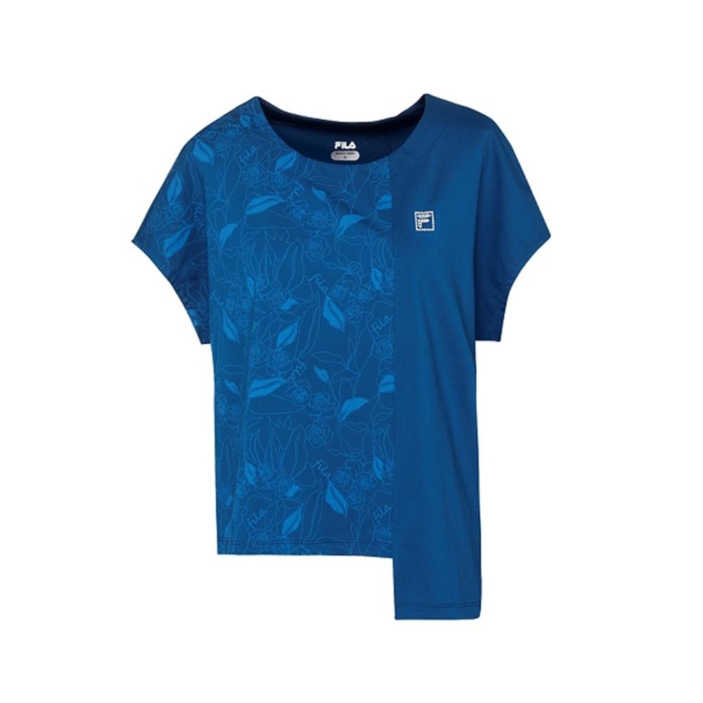 FILA 女吸濕排汗短袖T恤-藍色 5TEV-1602-BU