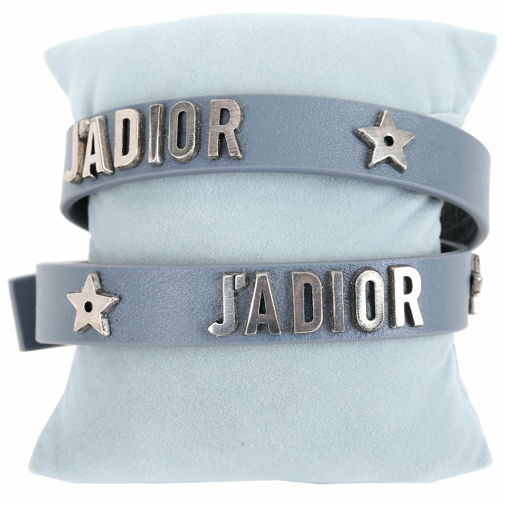 Dior J'ADIOR 銀字小牛皮雙圈手環/頸鍊(薄霧藍)