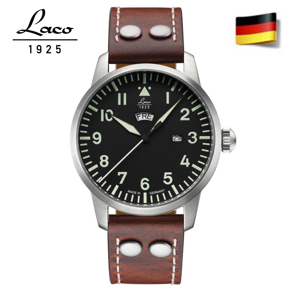 Laco 朗坤861807德國工藝1925飛行員經典軍事風格石英錶-紅棕 /42mm