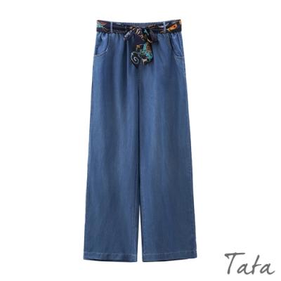 綁帶涼軟牛仔寬褲 共二色 TATA-(S~XL)