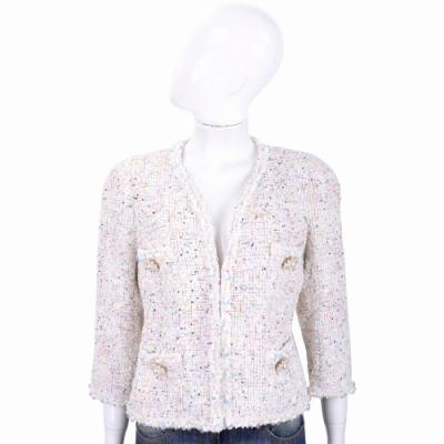 EDWARD ACHOUR PARIS 珍珠花短版混色毛呢外套(米白色)