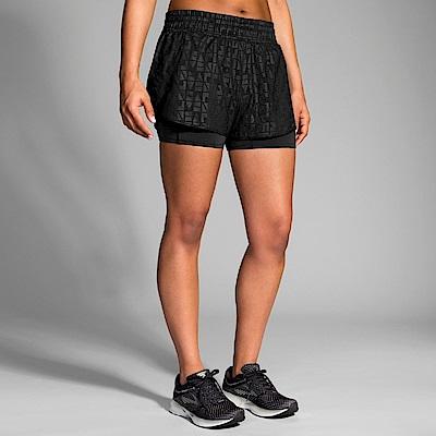 BROOKS女Circuit 環行二合一運動3吋短褲 黑(221257043)