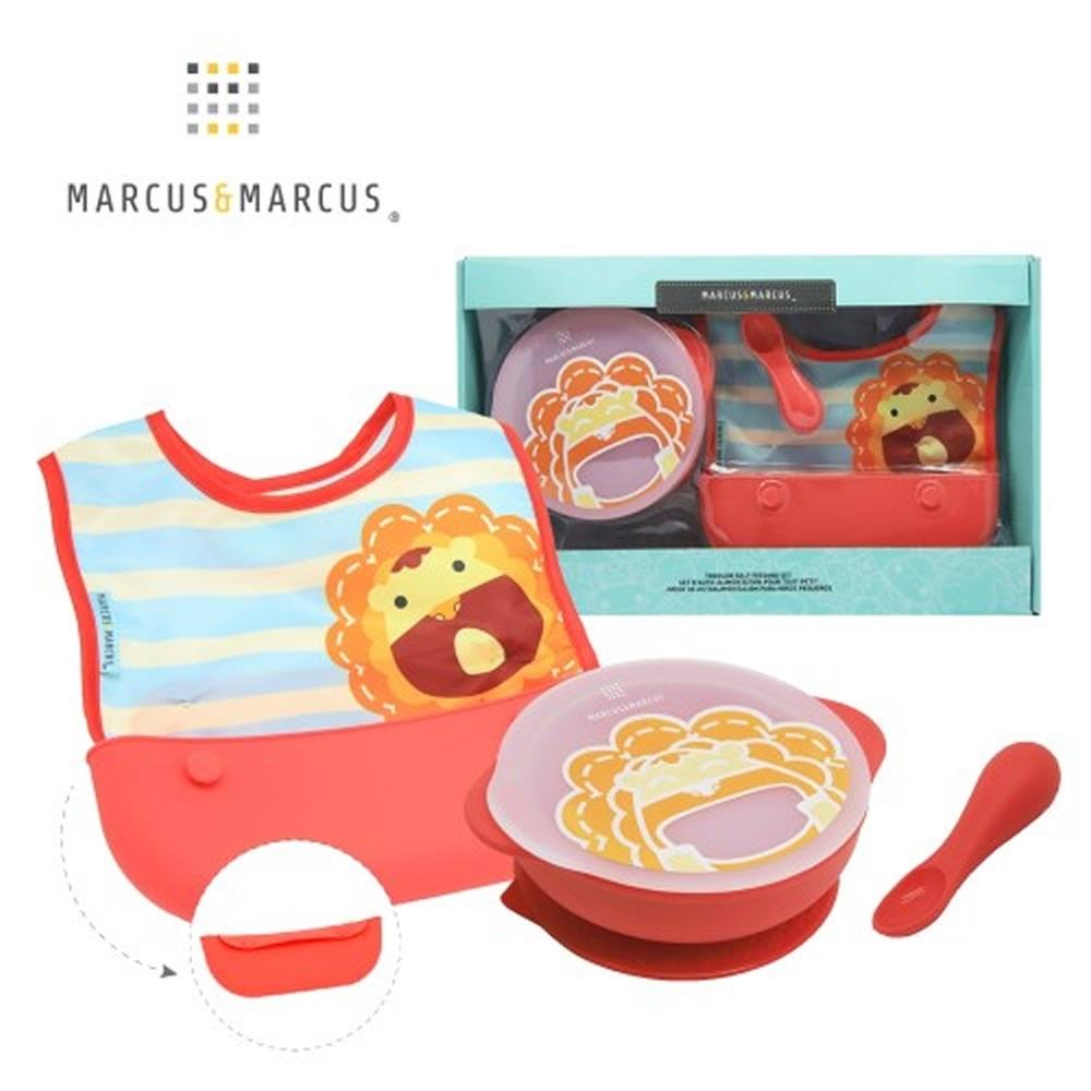 【MARCUS&MARCUS】動物樂園自主用餐學習禮盒組-獅子(紅)