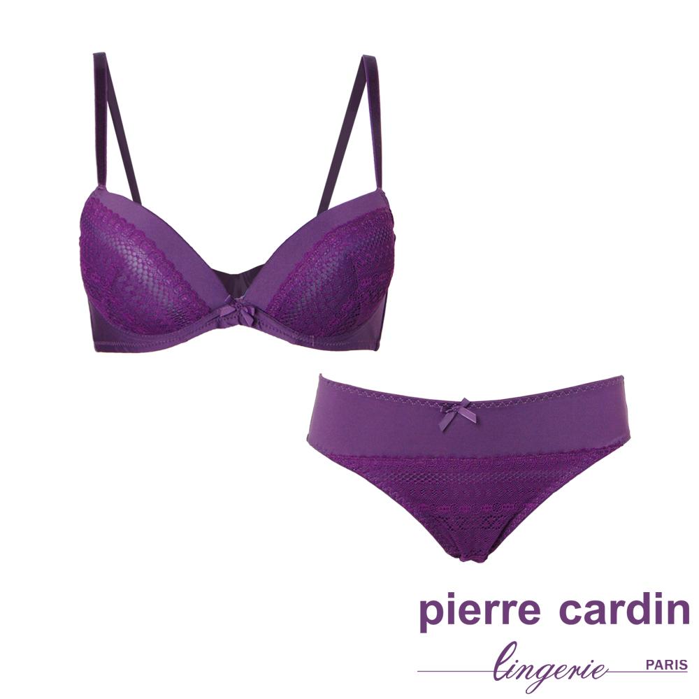 Pierre Cardin皮爾卡登 B罩 蕾絲集中托高拉提內衣(成套-紫) @ Y!購物