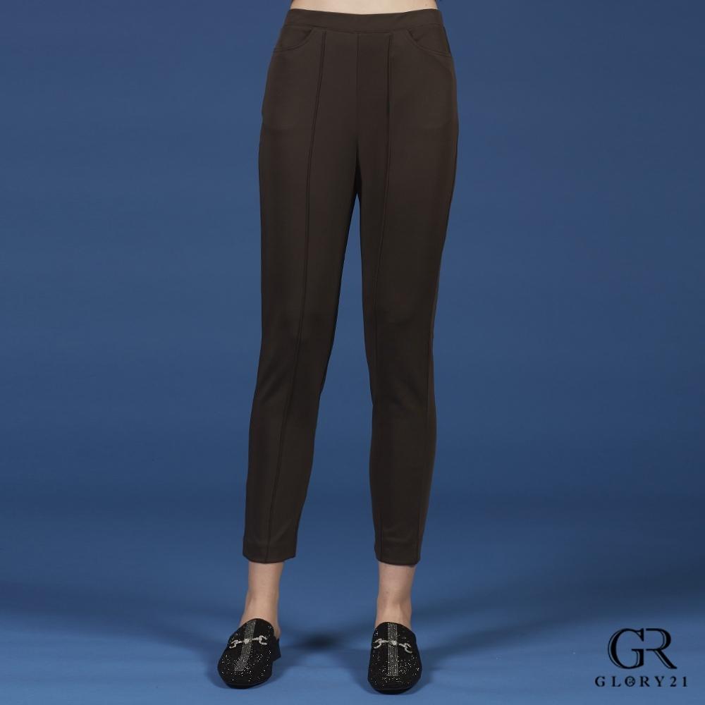 GLORY21彈性棉質合身長褲_深咖啡