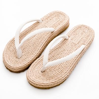 River&Moon拖鞋 自然簡單人字夾腳平底涼拖鞋 米