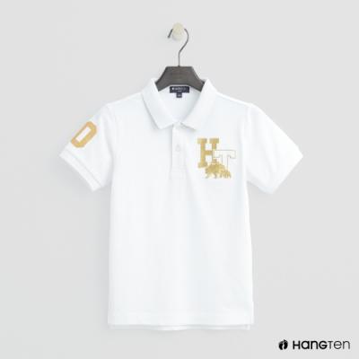 Hang Ten-童裝-logo刺繡POLO杉-白