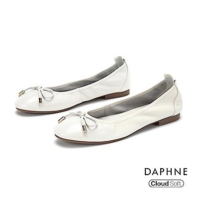 達芙妮DAPHNE 平底鞋-真皮甜美蝴蝶結平底娃娃鞋-米白