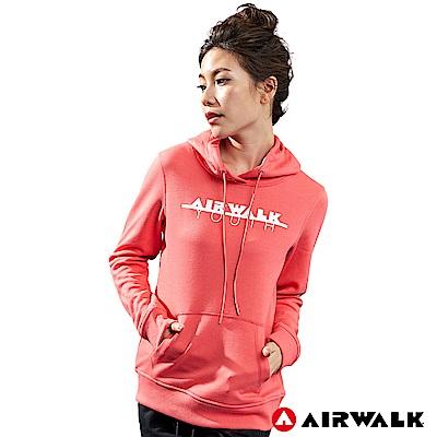 【AIRWALK】女款連帽印花T-粉紅