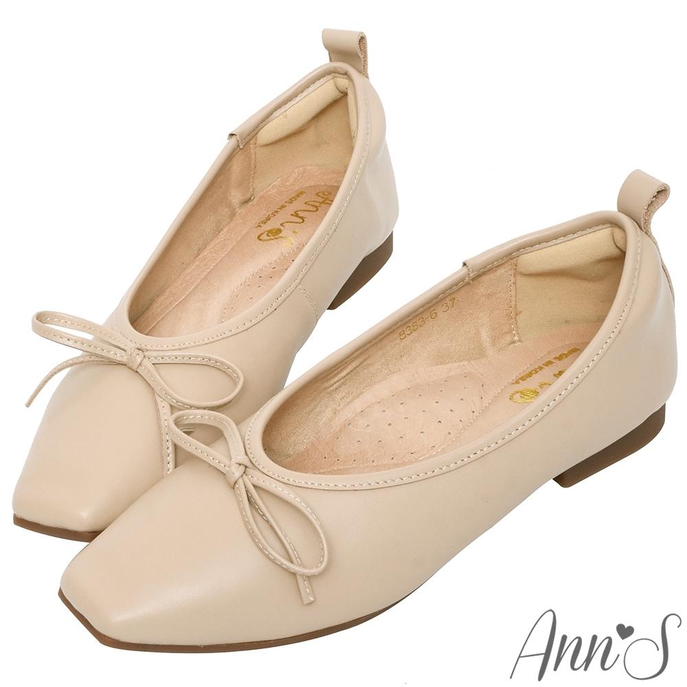 Ann'S法式平底鞋-柔軟全真皮蝴蝶結芭蕾小方頭鞋-杏(版型偏小)