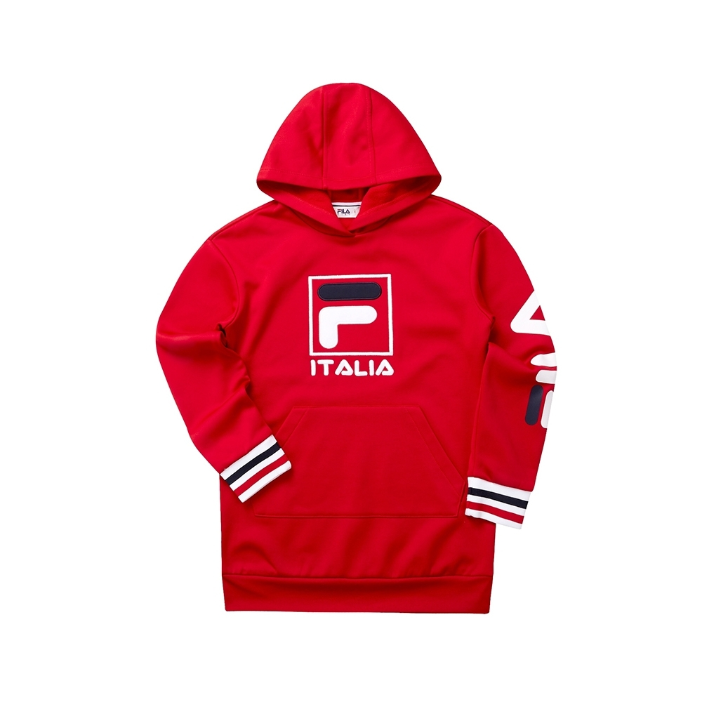 FILA KIDS 女童長版針織帽T恤-紅 5TET-8445-RD