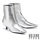 短靴 HELENE SPARK 都會時髦感異材質小方楦低跟短靴-銀 product thumbnail 1