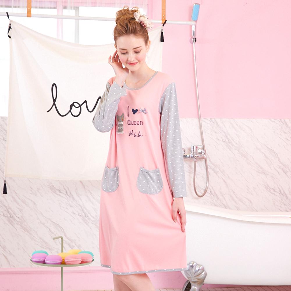 睡衣 好眠小貓 針織棉長袖連身睡衣(R75208-2粉色) 蕾妮塔塔