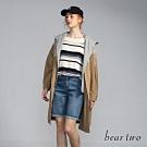 beartwo - 假兩件拼接連帽造型風衣外套 - 卡其