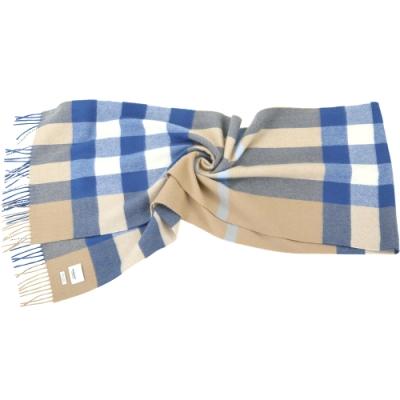 (專櫃21900 領券再現折)BURBERRY 100%喀什米爾 水藍色格紋羊絨披肩 圍巾(200x36CM)