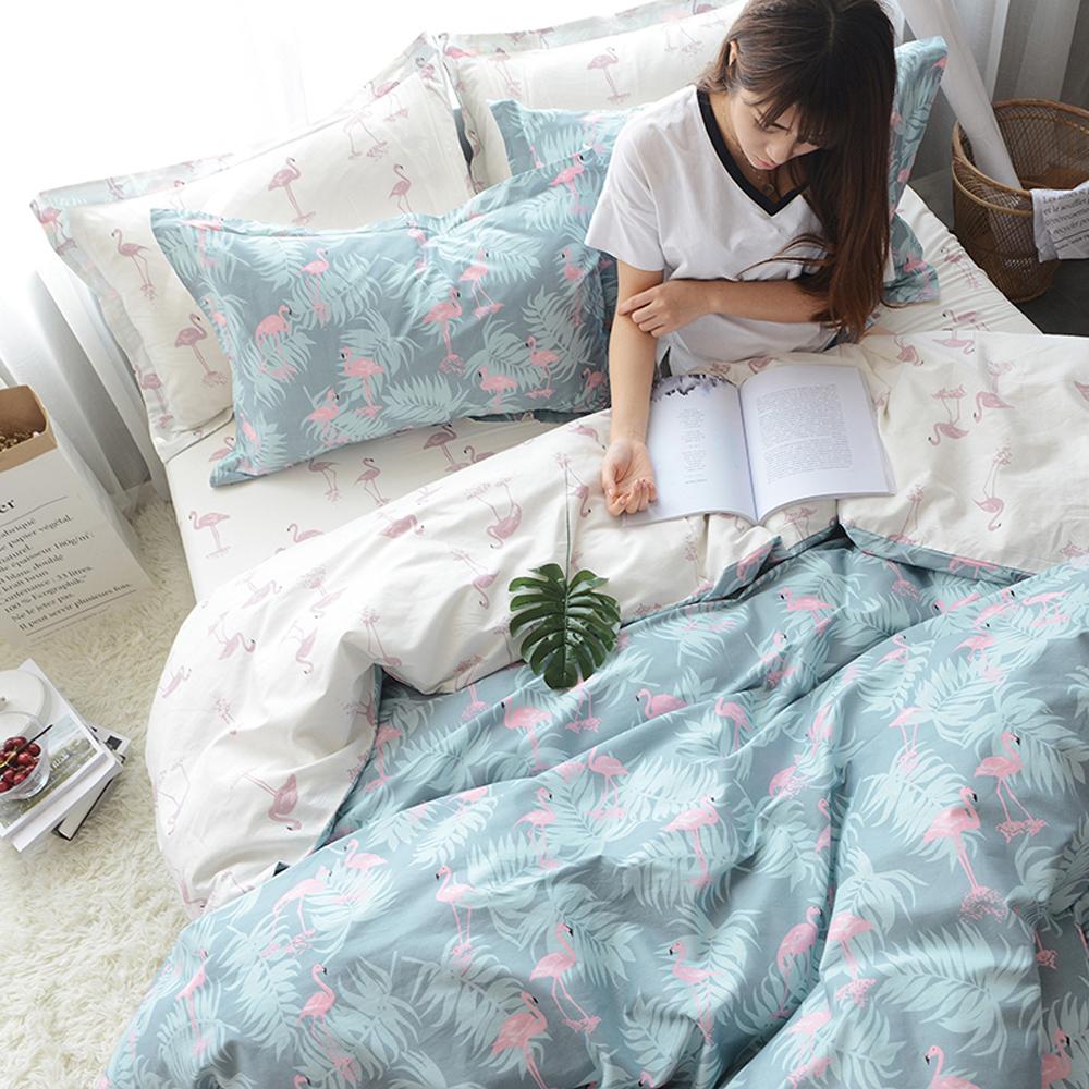 BUNNY LIFE 火鶴-單人-文青風純棉床包被套組