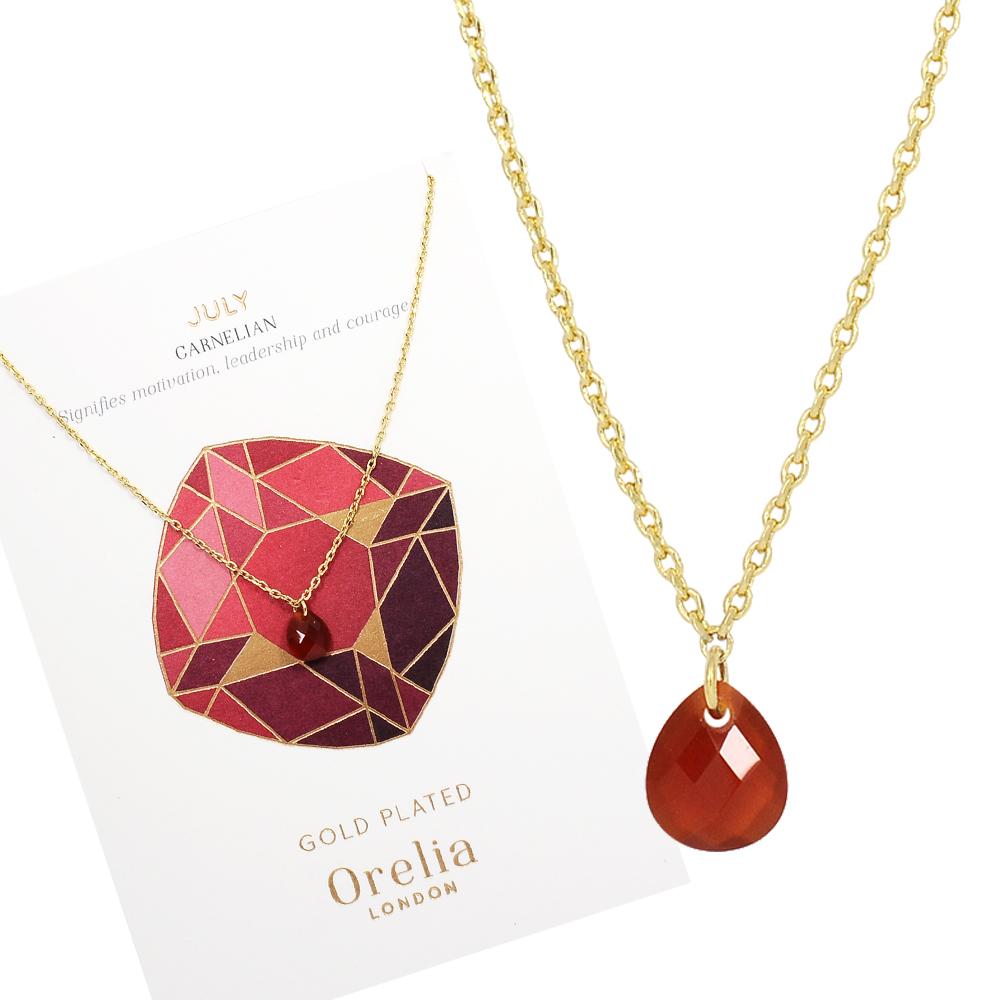 Orelia英國品牌 七月紅寶石誕生石金色項鍊