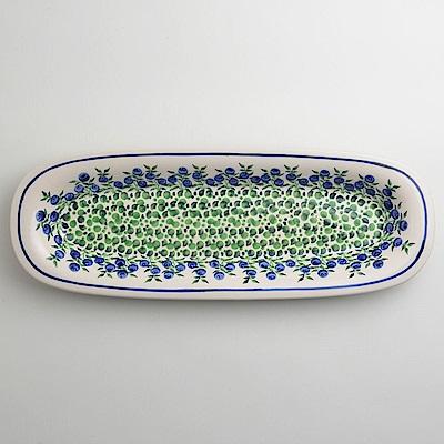 波蘭陶 粉紫浪漫系列 長方形餐盤 13X37cm 波蘭手工製